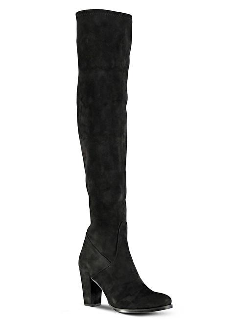 Marjin Kalın Topuklu Uzun Süet Çizme Siyah